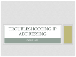 Troubleshooting IP Addressing