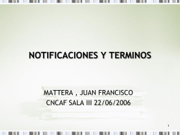 NOTIFICACIONES Y TERMINOS