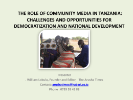 THE ROLE OF COMMUNITY MEDIA IN TANZANIA: …