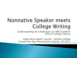Nonnative Speakers and Writing