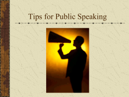 Tips for Public Speaking - Woodland Hills School District