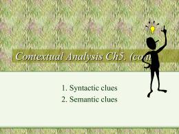 Contextual Analysis Ch5. (cont.)