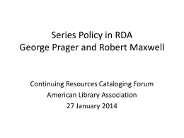 Series Policy in RDA - American Library Association