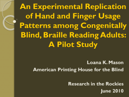 An Experimental Replication of Hand and Finger Usage