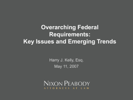 Overarching Federal Requirements: Key Issues and …