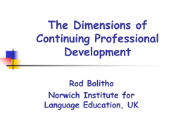The Dimensions of Professional Development