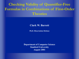 Checking Validity of Quantifier
