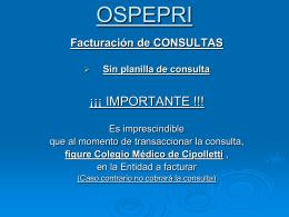 OSPEPRI - Novedades