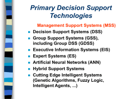 Part 2: Decision Support Systems