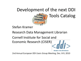 Development of the next DDI Tools Catalog