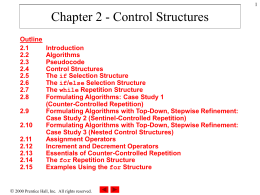 Chapter 2 - Control Structures