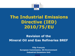 The Industrial Emissions Directive (IED) 2010/75/EU