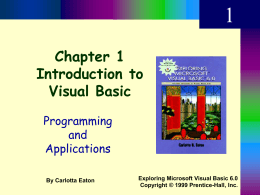 Chapter 1 Introduction to Visual Basic