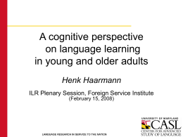 A cognitive perspective on language learning in young …