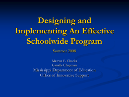 Designing and Implementing Effective Schoolwide …