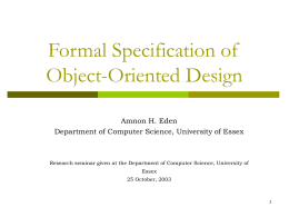 Presentation: Formal specification of object