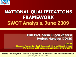 NATIONAL QUALIFICATIONS FRAMEWORK SWOT …