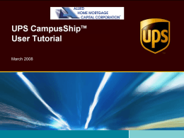 UPS CampusShipTM User How
