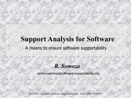 Support Analysis for Software