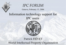 IT support for reformed IPC - World Intellectual Property