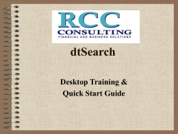 dtSearch Desktop/Network Training -