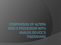 NIOS II Processor - University of Calgary