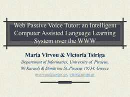 Web Passive Voice Tutor: an Intelligent Computer Assisted