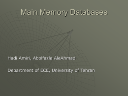 Top Main Memory DBs - University of Tehran