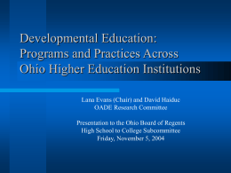 Developmental Education: Programs and Practices …