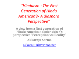 Hinduism : The First Generation of Hindu American's