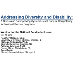 Addressing Diversity and Disability: A Discussion on