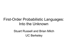 First-Order Probabilistic Languages: Into the Unknown