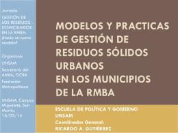 Modelos y practicas de GIRSU existentes en los territorios