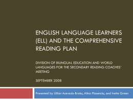 English Language Learners and the Comprehensive …