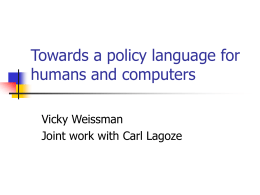 Towards a policy language for humans and computers