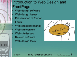 Intro to Web Site Design and Microsoft FrontPage