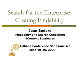 Search for the Enterprise: Creating Findability