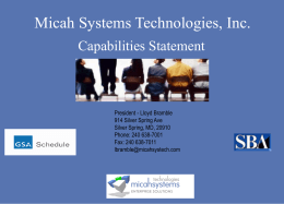 Micah's Capabilities Statement