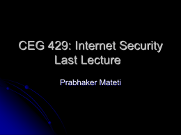 Internet Security Course Last Lecture
