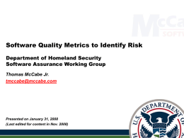 Software Quality Metrics to Identify Risk