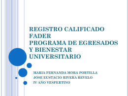 REGISTRO CALIFICADO FADER PROGRAMA DE …