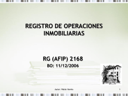 REGISTRO DE OPERACIONES INMOBILIARIAS