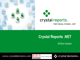 Crystal Reports for Visual Studio .NET