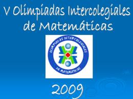 OLIMPIADAS INTERCOLEGIALES DE MATEMATICAS