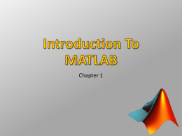 Introduction To MATLAB - Appalachian State University