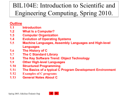 BIL104E: Introduction to Scientific and Engineering