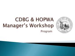 CDBG & HOPWA Manager's Workshop