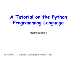 An Introduction to the Python Programming Language