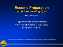 Writing an Effective Resume - Department of Computer