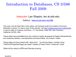 Introduction to Databases Winter 2006